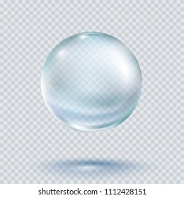 Water rain drop isolated on transparent background. Realistic blue pure droplet condensed. Vector clear dew, water bubble or glass surface ball for your design.