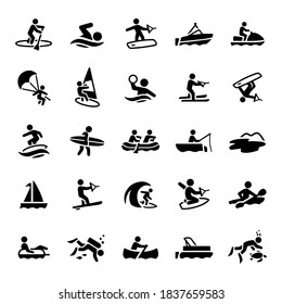 Water Recreation Icons stock illustration। paddleboarding, swimming, wakeboarding, boating, watercraft, parasailing, windsurfing, water polo, water skiing, wakesurfing, surfing, whit water rafting,  - Shutterstock ID 1837659583