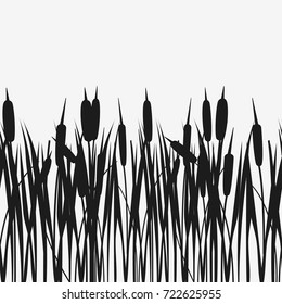 Water Reed Plant Cattails black silhouette. Seamless pattern. Vector illustration