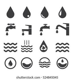 Water related icons set on white background. Black. Vector illustration