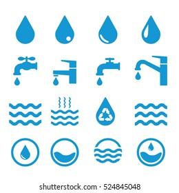 Water related icons set on white background. Blue. Vector illustration