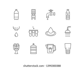 Water related icons with tonic, dispenser, crane, bottle, flask, drop, shower, fountain, filter, glass.