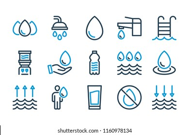 Water related line icon set. Vector illustration.