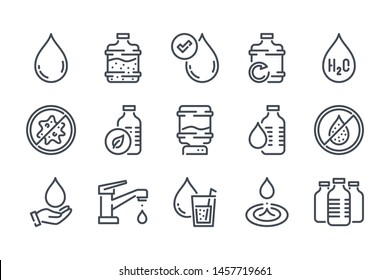 Water related line icon set. Pure and clear linear icons. Antibacterial eco water outline vector signs and symbols collection.