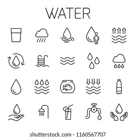 Water related vector icon set. Well-crafted sign in thin line style with editable stroke. Vector symbols isolated on a white background. Simple pictograms.