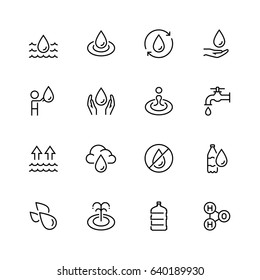 Water related vector icon set in thin line style