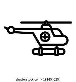 Water rescue helicopter icon. Outline water rescue helicopter vector icon for web design isolated on white background
