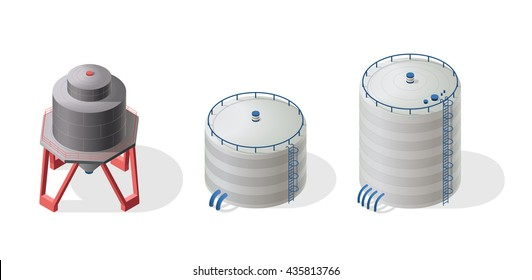 Water reservoirs isometric buildings info graphic. Three big water reservoirs. White water supply resource. Pictogram industrial chemistry cleaner set with details. Flatten isolated master vector icon