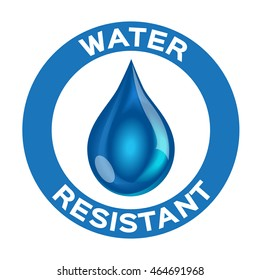Water resistant logo , icon and vector . blue version
