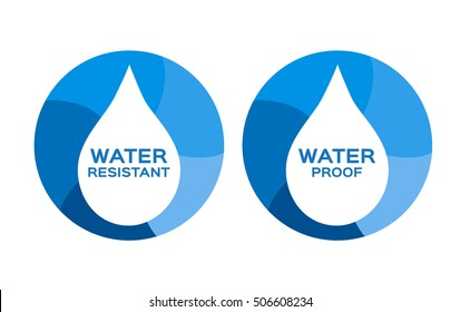 Water resistant and proof logo , icon and vector .