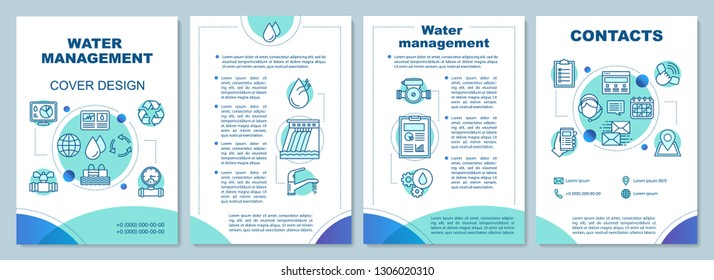 Water resource management brochure template layout. Flyer, booklet, leaflet print design. Water supply. Hydroelectricity. Vector page layouts for magazines, annual reports, advertising posters