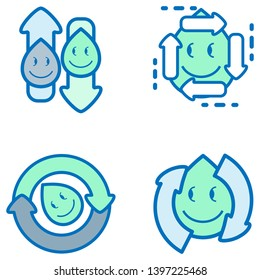 Water reuse drop icon set. Element of design for water recycling. Vector illustration outline flat design style.