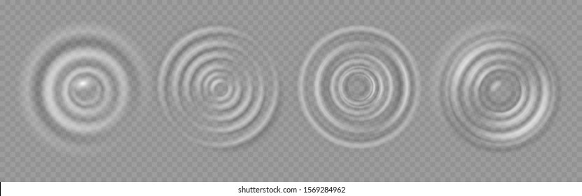 Water ripple. Realistic caustic drop or sound wave splash effects, concentric circles in puddle. Vector set round wave surfaces on transparent background