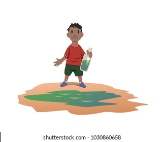 Water scarcity concept. African boy took drinking water from a dirty puddle. Bad drinking water is the cause of dangerous intestinal infections. Vector illustration, isolated on white background.
