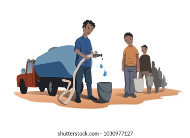 Water scarcity concept. African people stand in line for water. The water truck. Vector illustration, isolated on white background.