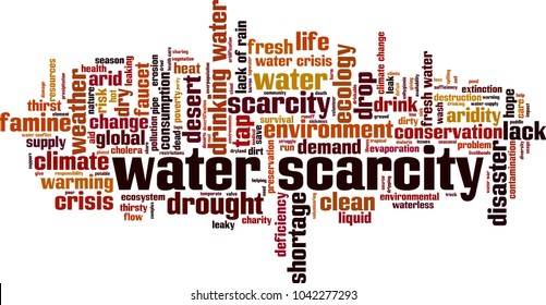 Water scarcity word cloud concept. Vector illustration