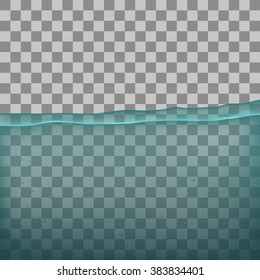 Water, sea, ocean with transparency on transparent background. Flood. Flooded background. Flooding water with transparency. Transparent background. Ocean floor with bubble. Sea bottom.
