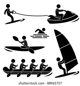 Water Sea Sport Surfing Skurfing Rowing Windsurfing Rafting Kayak Icon Symbol Sign Pictogram