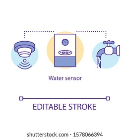 Water sensor concept icon. Aqua detector. Water leak detection. Home automation system for smart bathroom idea thin line illustration. Vector isolated outline drawing. Editable stroke