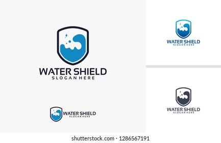 Water Shield logo template, Laboratory Shield logo designs vector