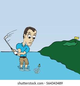 Water Shot Golf Cartoon