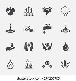 water sign and symbol. icon set . vector illustration.