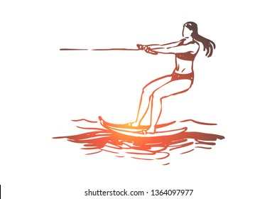 Water skiing, sea, summer, water, activity concept. Hand drawn summer sport water skiing concept sketch. Isolated vector illustration.