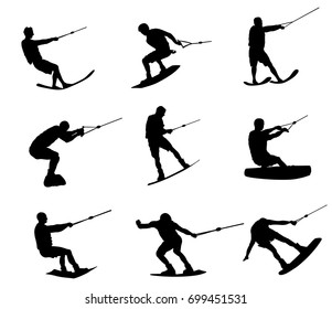 Water skiing vector silhouette illustration isolated on white background. Water ski sport. Summer time on the beach.  Ski acrobat on the sea. Lifeguard water patrol on duty. Kitesurfer or parasailing.