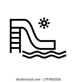 water slide icon or logo isolated sign symbol vector illustration - high quality black style vector icons