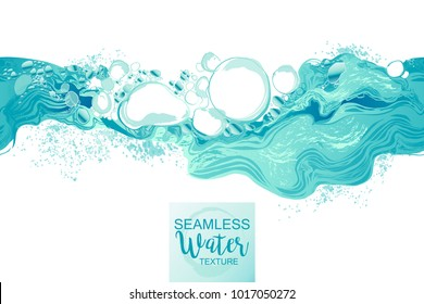 Water splash in blue color bubbles abstract background. Seamless pattern, hand-drawn vector illustration