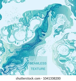 Water splash in blue color bubbles abstract background seamless pattern hand-drawn vector illustration