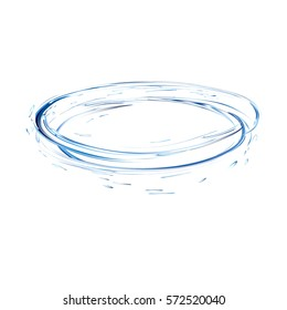 water splash circle with drops from top view isolated on white. 3d illustration vector created with gradient mesh. blue aqua surface swirl background.