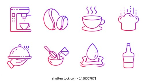 Water splash, Coffee maker and Restaurant food line icons set. Cappuccino, Coffee beans and Cooking whisk signs. Cooking hat, Scotch bottle symbols. Aqua drop, Tea machine. Vector