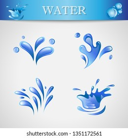 Water Splash And Drop Icons - Isolated On Gray Background. Vector Illustration Of Water Splash and Drop Icons. Set For Websites, Label, Sticker, Logo Template And Design Elements