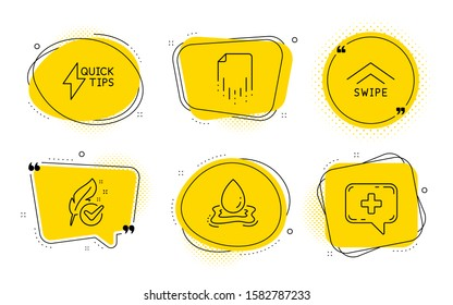 Water splash, Hypoallergenic tested and Medical chat signs. Chat bubbles. Quickstart guide, Swipe up and Recovery file line icons set. Lightning symbol, Scrolling arrow, Backup document. Vector
