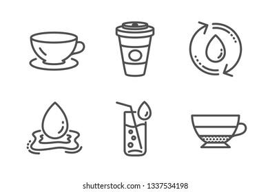 Water splash, Takeaway coffee and Water glass icons simple set. Espresso, Americano signs. Aqua drop, Hot latte drink. Food and drink set. Line water splash icon. Editable stroke. Vector