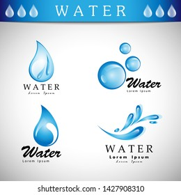 Water Splash Vector And Drop Icons Set - Isolated On Gray Background. Vector Illustration Collection Of Flat Water Splash and Drop Icons For Website, Label, Sticker, Logo Template And Bubble Design