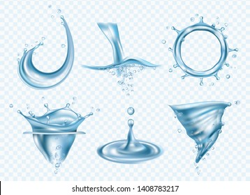 Water splashes. Washing fluid surface liquid weather rainy drops whirlpool vector realistic pictures template. Illustration of whirlpool and splash, wet flowing vortex