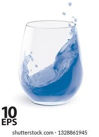 Water Splashing In Glasses isolated on white. Vector 3d illustration