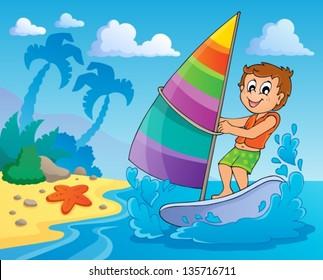 Water sport theme image 2 - eps10 vector illustration.