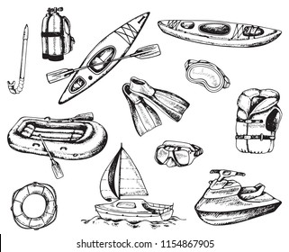 Water sport and travel icons. Set of hand drawn vector kayak, diving and rafting inventory