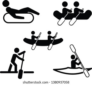 Water Sport Vector Icon Set — Canoeing, Rafting, Kayaking, Tubing, Paddle board