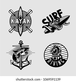 Water sport vintage embleme set with kayak, scuba, anchor and surfboard. Black and white t shirt prints.