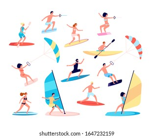 Water sports. Canoes, extreme sea lifestyle. Surfing and windsurfing, people recreational ocean outdoor activity. Summer leisure vector set
