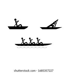 Water sports icons. Water rowing set. Logos extreme sports and recreation in water. Monochrome template for poster, logo, ets. Design element. Vector illustration.