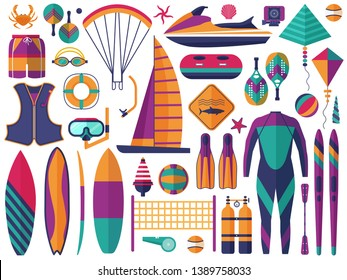 Water sports icons set. Sea summer activity and beach sport games elements. Windsurfing, jet ski, paddleboarding, snorkeling, scuba diving, tubing, volleyball, tennis, sailing, parachuting, ping-pong.