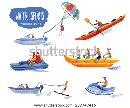Water Sports. Vector watercolor illustration.