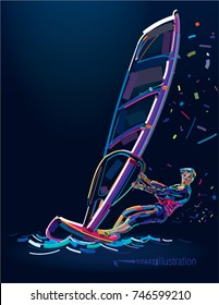 Water sports. Windsurfing. Poster in a paint stroke style