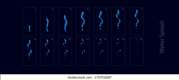 Water spray effect. Water splash sprite sheet for game or cartoon or animation. -Vector