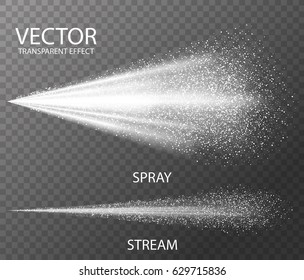 Water spray white fog template isolated on dark transparent background. Trigger Sprayer effect with spray or stream nozzles. Realistic 3d vector illustration